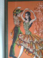LARGE RETRO OIL PAINTING, TANGO DANCE SPANISH BY ALBERT TRIBUIANI...