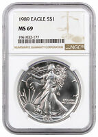 1989 1 oz American Silver Eagle Coin NGC MS69 .999 Pure Brilliant Uncirculated