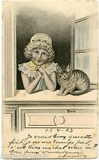 R. CAPUTI. JOLIE PETITE FILLE ET SON CHAT. CHILD AND CAT.