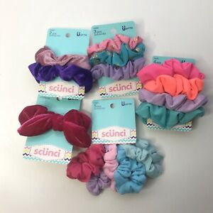 Lot of 15 Scunci Hair Scrunchies Ponytail Holder Neon Velvet Knit Pastel Summer