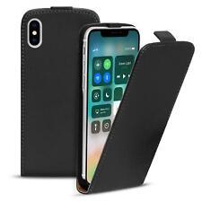 Flip Case Apple iPhone X 10 Hülle Pu Leder Klapphülle Handy Tasche Cover Schwarz