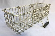 Vintage Country Farm Eggs Fruits Vegetables Painted Wire Handles Basket