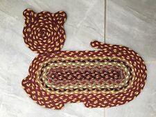 "Braided Cat Shape Jute Fiber Rug 14.5"" X 19.5"" Primitive Rustic"