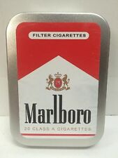 Marlboro Red Retro Advertising Brand Cigarette Tobacco Storage 2oz Hinged Tin
