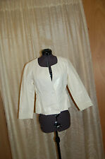 Theory White Leather Jacket Size 6 Made in Italy
