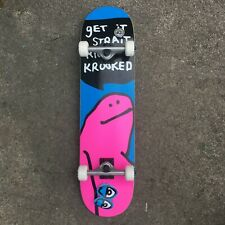 "KROOKED SKATEBOARDS - COMPLETE SKATEBOARD TEAM SHMOO MULTI LARGE 8.00"" INCH NEW"
