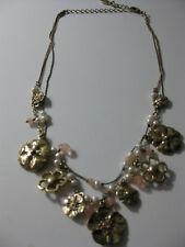 Romantische Kette PILGRIM mit Blüten, Perlen usw. goldfarben, NEU