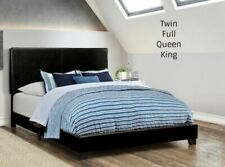 Platform Upholstered Pu Leather Black Bed Frame Headboard Twin Full Queen King