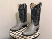 VINTAGE 8056 TONA LAMA GRAY SILVER ROCKABILLY DISTRESSED RANCH WORK BOOTS 9.5 D