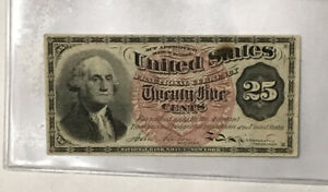 Twenty Five Cents Fractional Currency, Portrait Of Washington Fourth Issue.