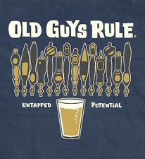 "Old Guys Rule "" Untapped Potential "" Draft Beer Navy Heather T-Shirt Size 3X"