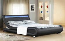 Italian Designer Faux Leather Bed with LED Strip 4ft6, 5ft with Mattress Option