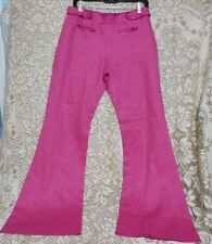 Jesire Size 8 Pink Linen Slightly Flared Womens Pants Pink Satin Trim Side Zip