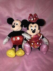 Ty Beanie Babies Minnie and Mickey Red Sparkle Plush