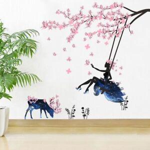 Wall Art Decal Romantic Fairy Girl Wall Sticker Flower Butterfly Room Decor'