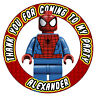 Personalizado Lego Spiderman Pegatinas Fiesta Cumpleaños Gracias Caramelo Conos