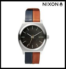 New Authentic Nixon The Time Teller Watch - Blue/Brown Leather