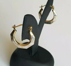 Solid 9ct White & Yellow Gold Earrings. Hollow Light Weight. Not Scrap. 375.