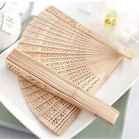 1PC Vintage Chinese Asian Fragrant Wood Carved Hollow Foldable Folding Hand Fan