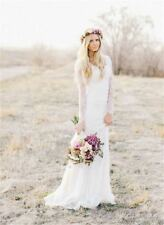 Bohemian Wedding Dresses Ivory White Lace Long Sleeve Sheath Bridal Gown Plus