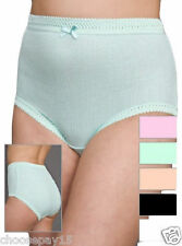 12 Pair Women Plain Ribbed Full Briefs Knickers 100% Cotton Comfy Everyday Wear