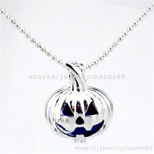 L389 Bright Silver Steel Locket Necklace Halloween Cute Pumpkin Pearl Beads Cage