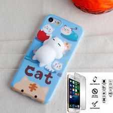 Apple iphone 8 Case Shockproof Washable Squishy L-Cat Cover + Glass Protector