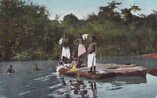 Postcard German South West Africa Young Africans doing Wash & swimming pre-1915