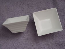 2 x Small Square Ribbed Porcelain Pots - Ideal for Candle Making!