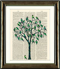 Antique Book page Art Print - Green Bird Tree Dictionary Page Wall Art