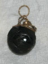 ANTIQUE c1820 CHATELAINE~~PERFUME  PENDANT~~REGENCY CARVED Coquilla Vegi NUT