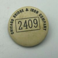 Rare Original CBI Chicago Bridge + Iron Co Employee ID Badge Pinback 2409 Vtg R8