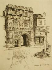 Joseph Pennell signed antique etching; Canterbury; 1884