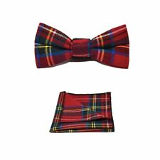 Tradicional Rojo Tartán Cuadros Bow Tie & Bolsillo Cuadrado Set-Tweed, a cuadros de país