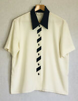 Nico Nico Blouse Cream & Navy Short Sleeves Button Up Smart Casual Work Office