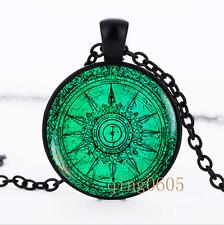 Vintage Compass, turquoise Glass Dome black Chain Pendant Necklace wholesale