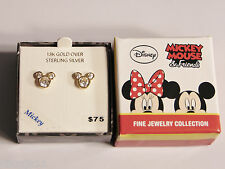 NEW 18K Gold Over Silver Disney Mickey Minnie Mouse CZ EARRINGS Childrens Posts!
