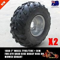 "2x 16x8-7"" inch Front Wheel Rim Knobby Tyre ATV Quad Bike Buggy Ride on Mowers"