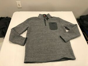 NWT $80.00 Under Armour CG Mens Specialist Henley Snap Mock Sweater Gray LARGE