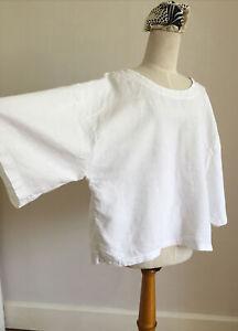 "COMPLETO LINO by ARTHURIO White Linen Boxy Tunic Top XL Ch50"""