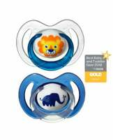 Pack of 2 Nuby Daytime Animal Dummies: Lion - Elephant. 6-18 months.