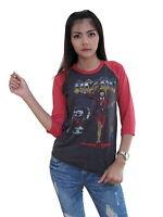 AC/DC Rock Band Concert World Tour 1988 Womens Raglan T-Shirt Jersey 100%Cotton