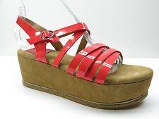 Zoe Kratzmann Red Leather High Heel Platform Wedge Sandal Pumps 7M MSPR $149
