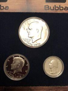 1976 US Mint Bicentennial Silver Proof Set Eisenhower Kennedy Washington COA #2