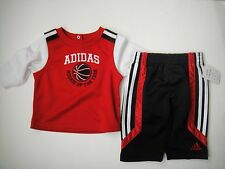 ADIDAS Infant Boys 2PC Tee Top Shirt Pants Basketball Rookie of the Year red 3m