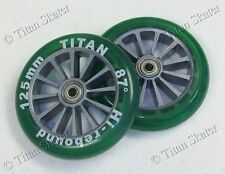125mm GREEN Wheels with ABEC-9 Bearings for TITAN FS532 & RAZOR A3 Kick Scooter!