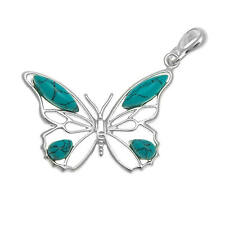 Turquoise and Sterling Silver Butterfly Pendant