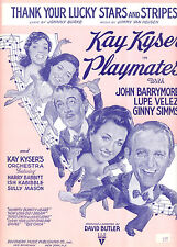 """PLAYMATES Sheet Music """"Thank Your Lucky Stars & Stripes"""" Lupe Velez Ginny Simms"""