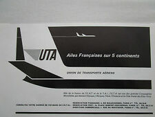2/1966 PUB COMPAGNIE UTA UAT TAI TRANSPORT AERIEN AIRLINE ORIGINAL FRENCH AD