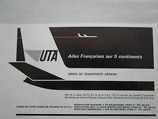 2/1966 PUB PAPIER COMPAGNIE UTA UAT TAI TRANSPORT AERIEN AIRLINE FRENCH AD
